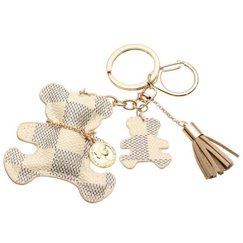 Tassel Key Ring PU Leather Bear Pattern - BEIGE 15 X 8 CM