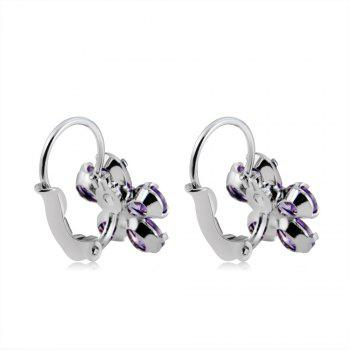 Women's Purple Plum Crystal Rhinestone Ear Buckles Earrings - SILVER