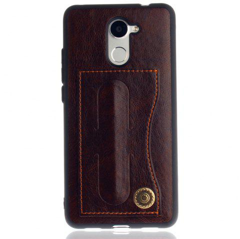 Leather Bracket Insert Card Cell Phone Shell For Huawei Y7 Prime / Huawei Enjoy 7 Plus Case Fashion Bracket Phone Case - MOCHA