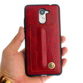 Leather Bracket Insert Card Cell Phone Shell For Huawei Y7 Prime / Huawei Enjoy 7 Plus Case Fashion Bracket Phone Case - RED