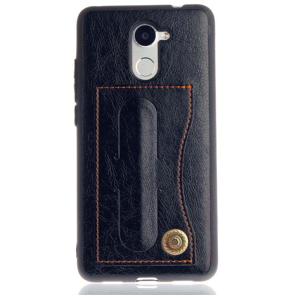 Leather Bracket Insert Card Cell Phone Shell For Huawei Y7 Prime / Huawei Enjoy 7 Plus Case Fashion Bracket Phone Case - BLACK