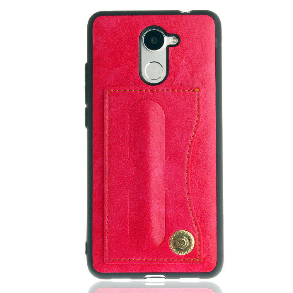 Leather Bracket Insert Card Cell Phone Shell For Huawei Y7 Prime / Huawei Enjoy 7 Plus Case Fashion Bracket Phone Case - SANGRIA