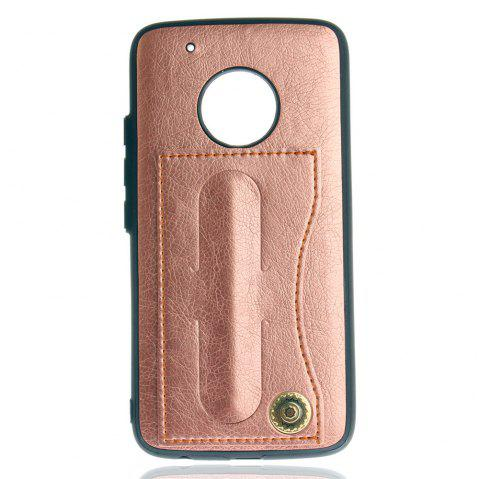 Leather Bracket Insert Card Cell Phone Shell For Motorola Moto G5 Plus Cases Cover Fashion Bracket Phone Case - ROSE GOLD