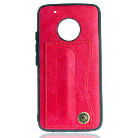 Leather Bracket Insert Card Cell Phone Shell For Motorola Moto G5 Plus Cases Cover Fashion Bracket Phone Case - SANGRIA
