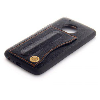 Leather Bracket Insert Card Cell Phone Shell For Motorola Moto G5 Plus Cases Cover Fashion Bracket Phone Case - BLACK