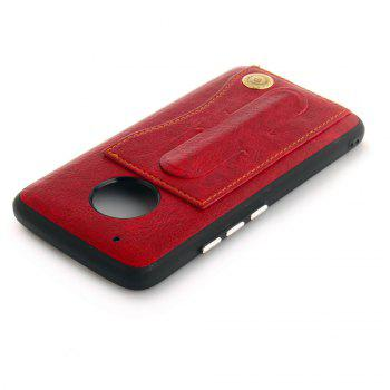 Leather Bracket Insert Card Cell Phone Shell For Motorola Moto G5 Plus Cases Cover Fashion Bracket Phone Case - RED
