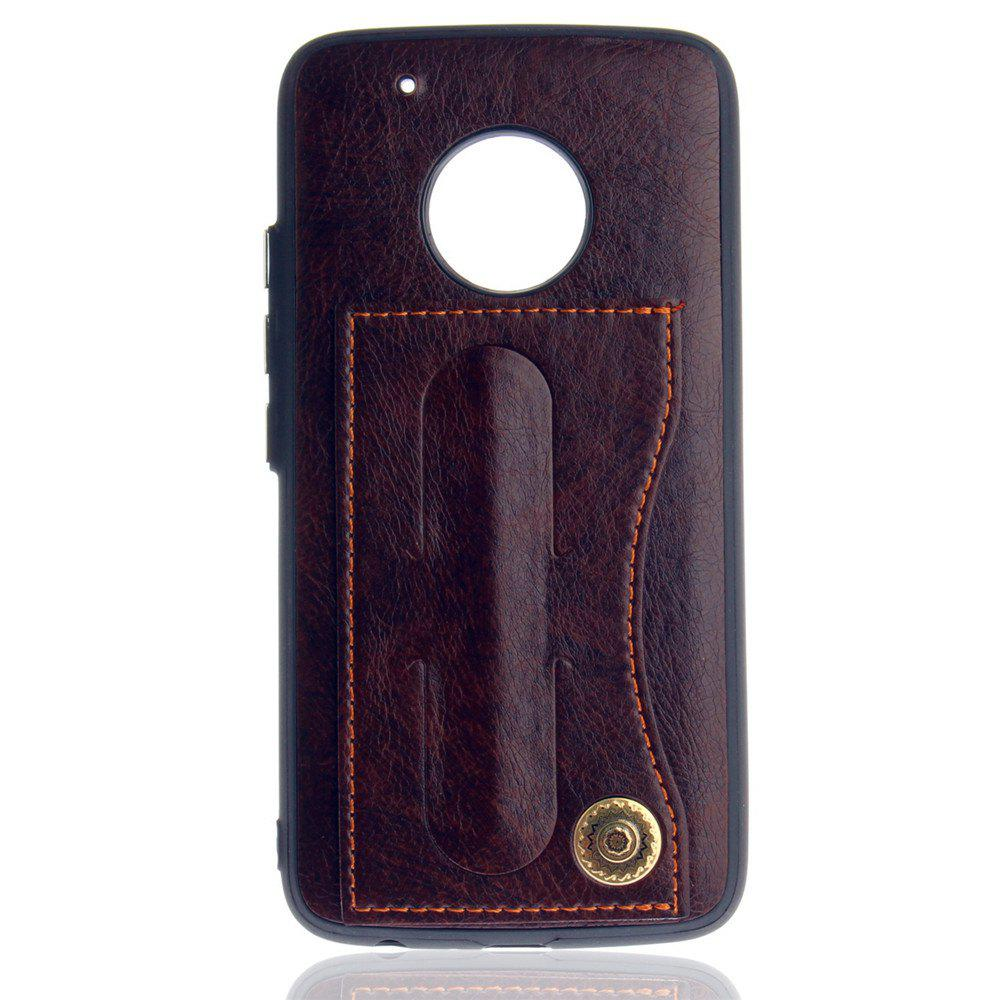 Leather Bracket Insert Card Cell Phone Shell For Motorola Moto G5 Plus Cases Cover Fashion Bracket Phone Case - MOCHA