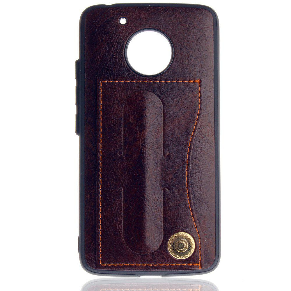 Leather Bracket Insert Card Cell Phone Shell For Motorola Moto G5 Cases Cover Extravagant Fashion Bracket Phone Case - MOCHA