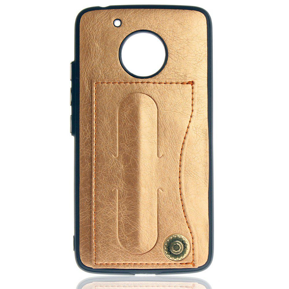 Leather Bracket Insert Card Cell Phone Shell For Motorola Moto G5 Cases Cover Extravagant Fashion Bracket Phone Case - GOLDEN