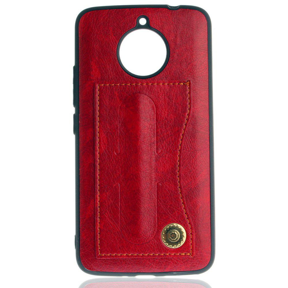 Leather Bracket Insert Card Cell Phone Shell for Motorola Moto E4 Plus European Version Fashion Case - RED