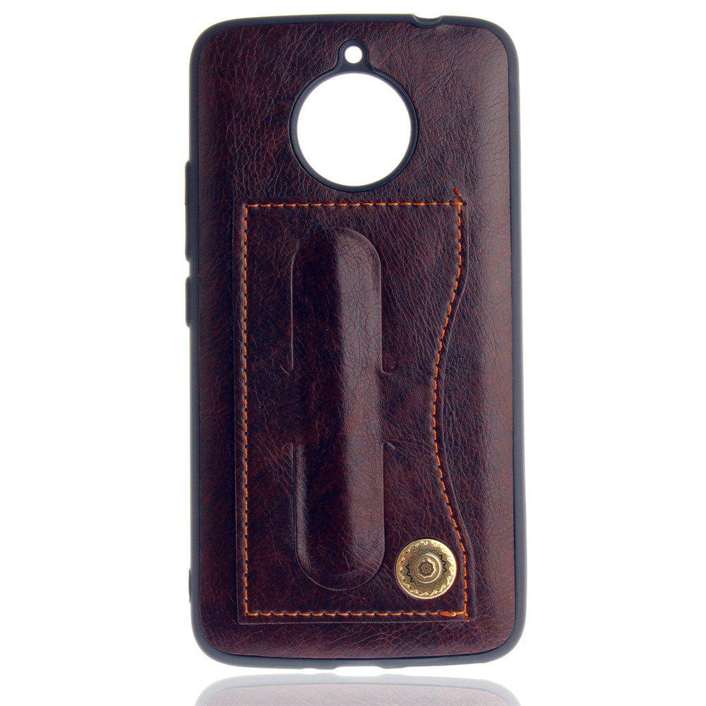 Leather Bracket Insert Card Cell Phone Shell for Motorola Moto E4 Plus European Version Fashion Case - MOCHA