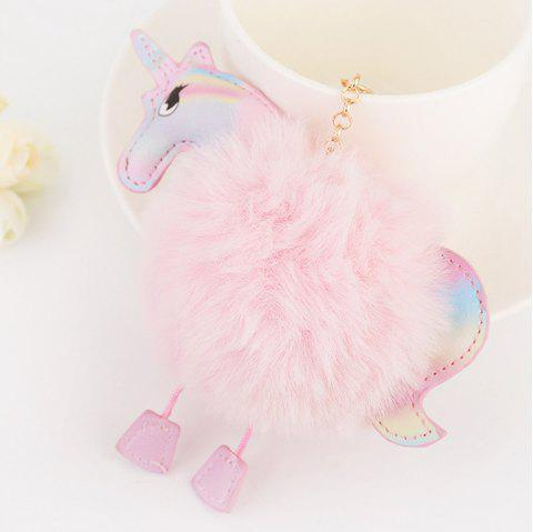 Car Key Chain Creative Unicorn Plush Pony Pendant Fashion Wild Bag Fur Ball Ornaments - PINK