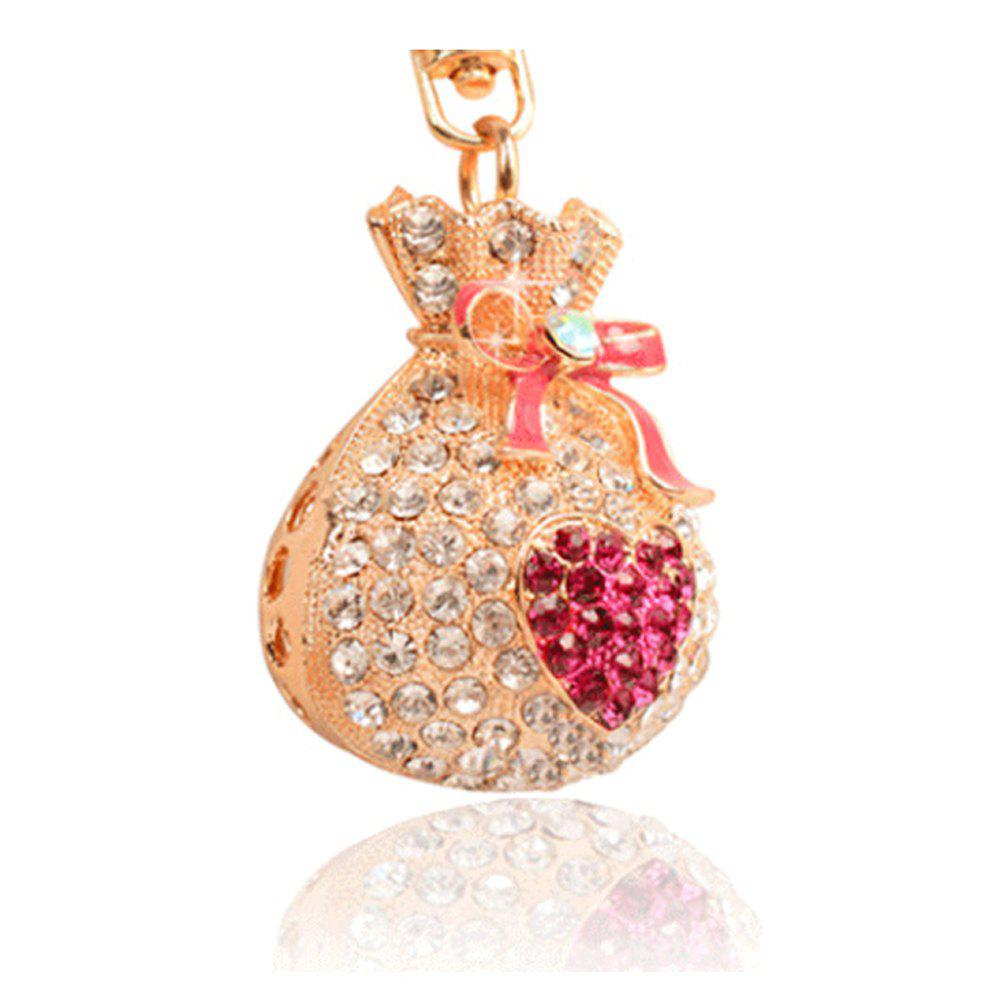 Alloy Lucky Money Purse Diamond Key Holder Girls Bag Pendant Car Pendant Creative Gifts - ROSE RED
