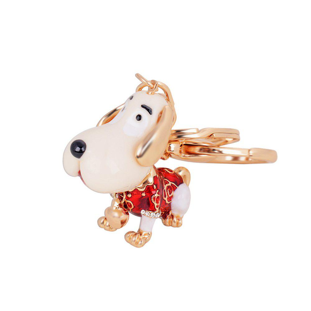Cute Puppy Alloy Key Chain Fashion Girls Bag Pendant Car Strap - RED