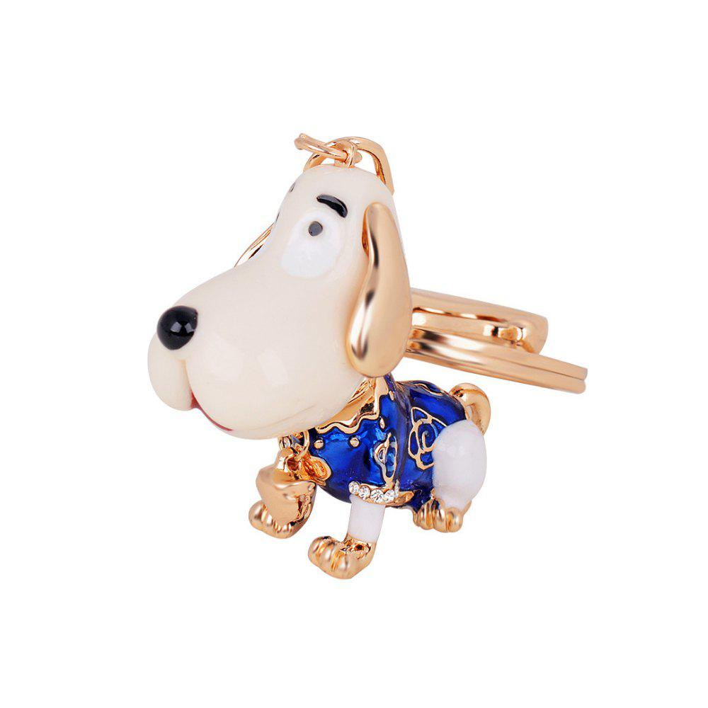 Cute Puppy Alloy Key Chain Fashion Girls Bag Pendant Car Strap - BLUE