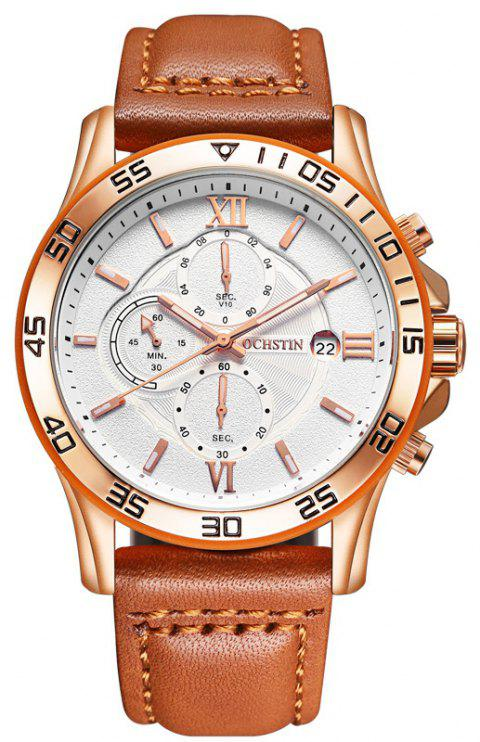 OCHSTIN GQ068A Leather Quartz Sport Multifunction Wrist Watch - BROWN