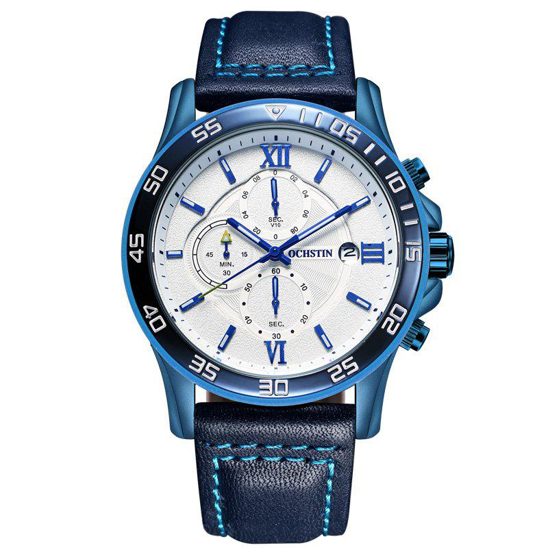 OCHSTIN GQ068A Leather Quartz Sport Multifunction Wrist Watch - BLUE