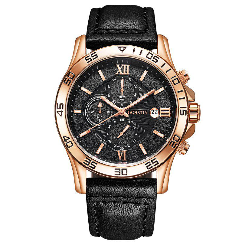 OCHSTIN GQ068A Leather Quartz Sport Multifunction Wrist Watch - BLACK