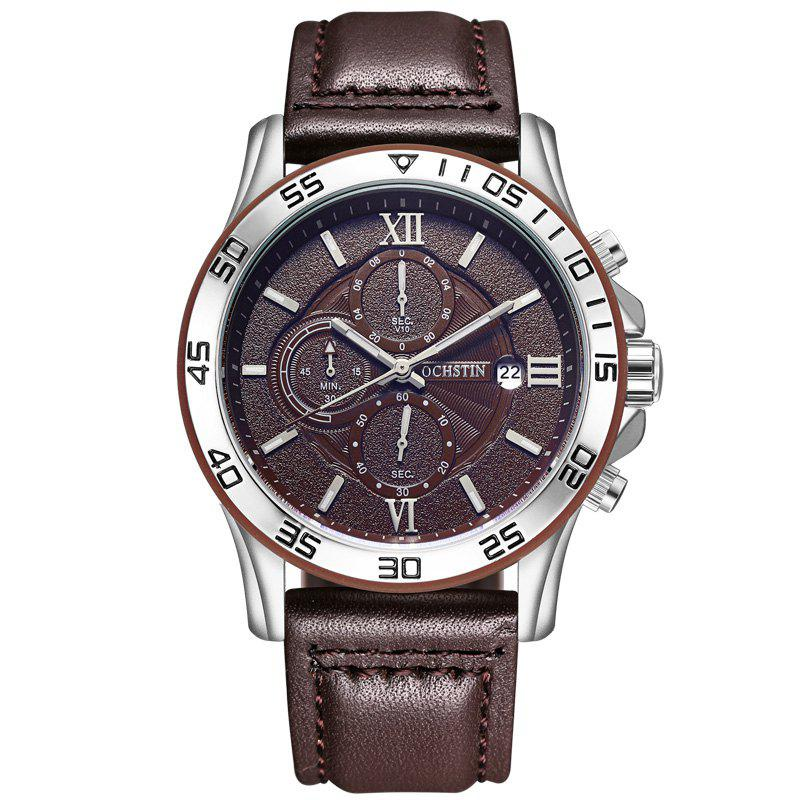 OCHSTIN GQ068A Leather Quartz Sport Multifunction Wrist Watch - COFFEE