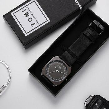 TOMI T001 Unisex Leather Strap Rectangle Case Quartz Watch with Box - BLACK