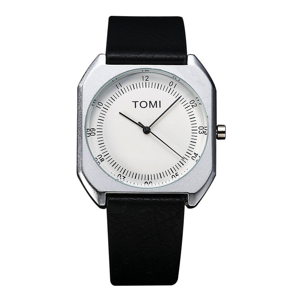 TOMI T001 Unisex Leather Strap Rectangle Case Quartz Watch with Box - SILVER/BLACK
