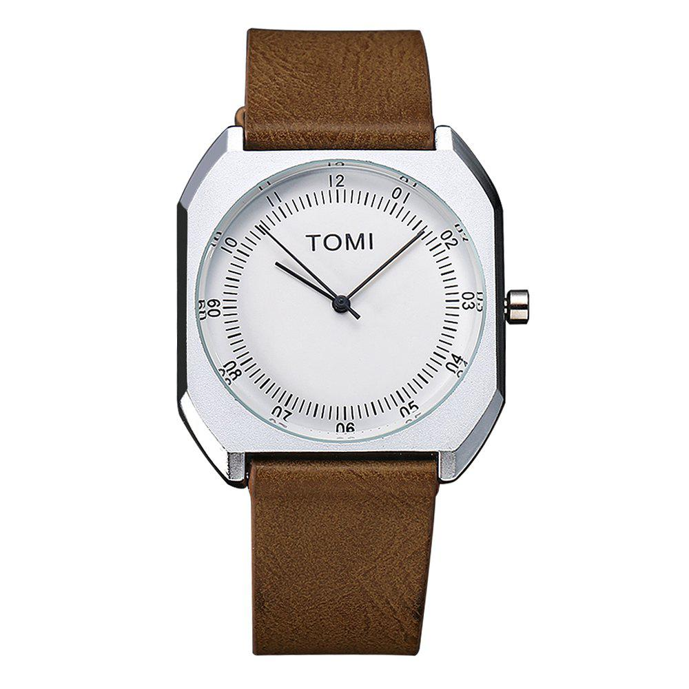 TOMI T001 Unisex Leather Strap Rectangle Case Quartz Watch with Box - SILVER/BROWN