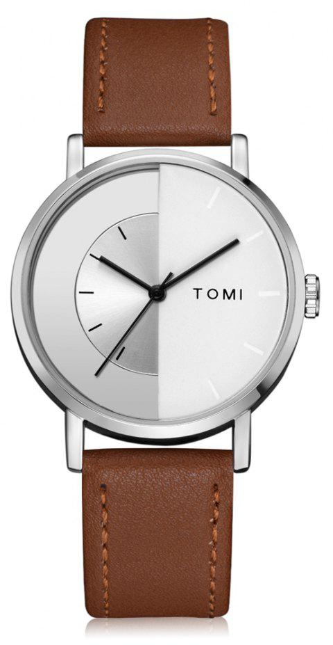 TOMI T017 Unisex Unique Leather Strap Quartz Watch with Box - SILVER/COFFEE