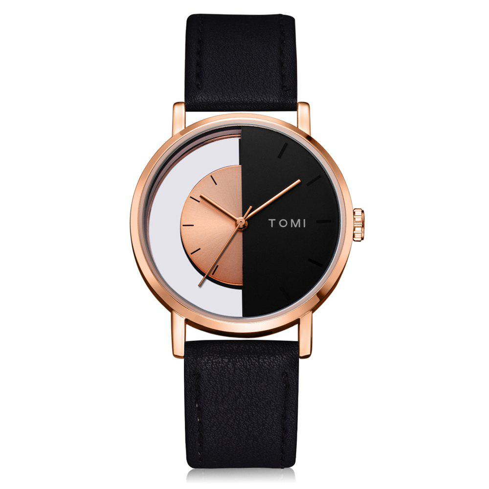 TOMI T017 Unisex Unique Leather Strap Quartz Watch with Box - BLACK/ROSE GOLD