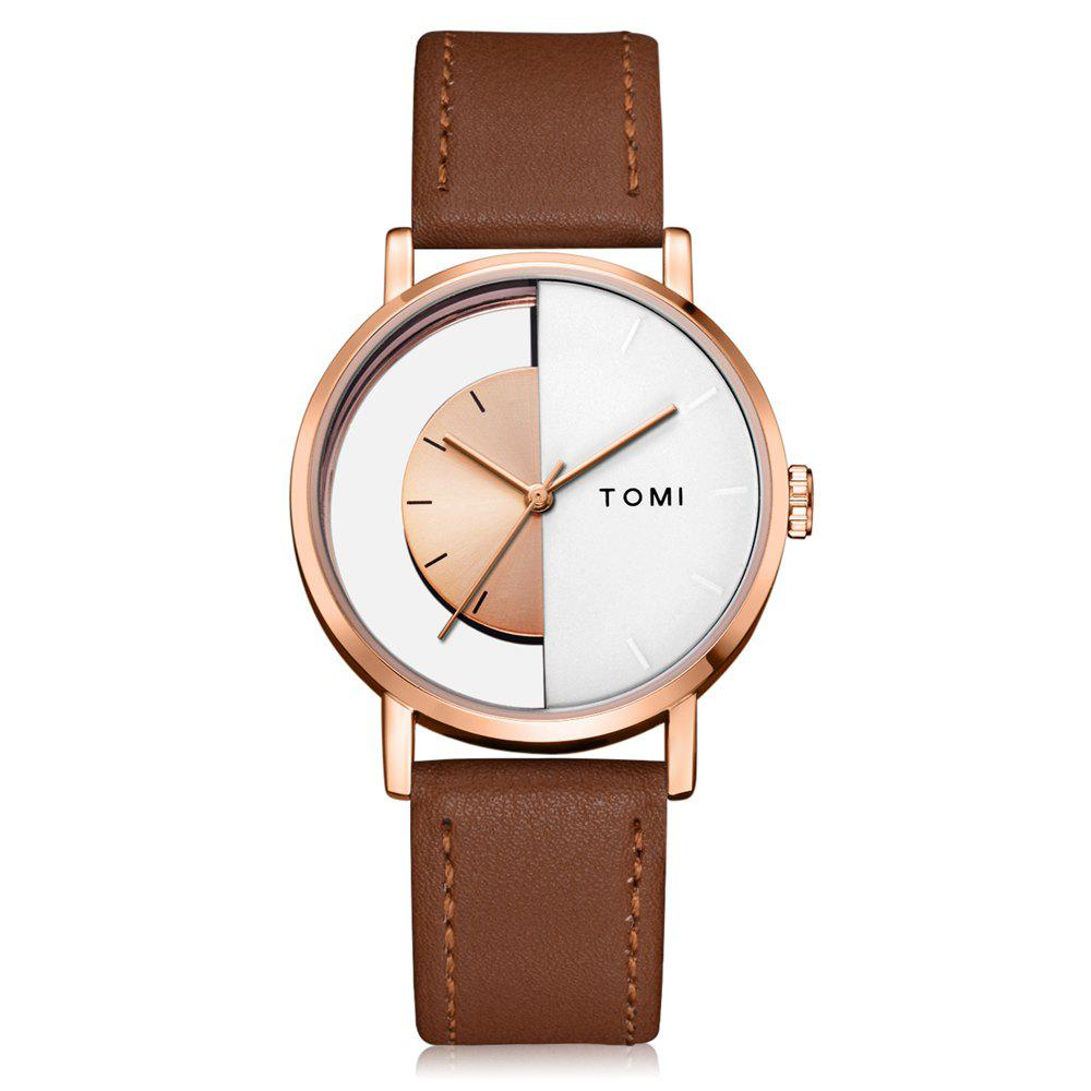 TOMI T017 Unisex Unique Leather Strap Quartz Watch with Box - ROSE GOLD/BROWN