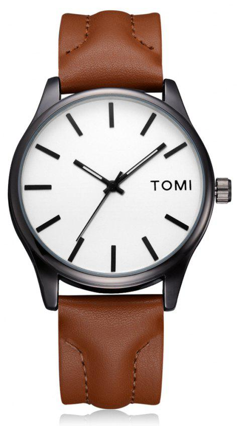 TOMI T018 Unisex Fashion Leather Strap Quatz Watch with Box - BLACK/BROWN