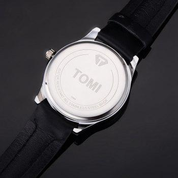 TOMI T018 Unisex Fashion Leather Strap Quatz Watch with Box - SILVER/BLACK