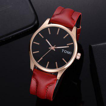TOMI T018 Unisex Fashion Leather Strap Quatz Watch with Box - ROSE GOLD/BROWN