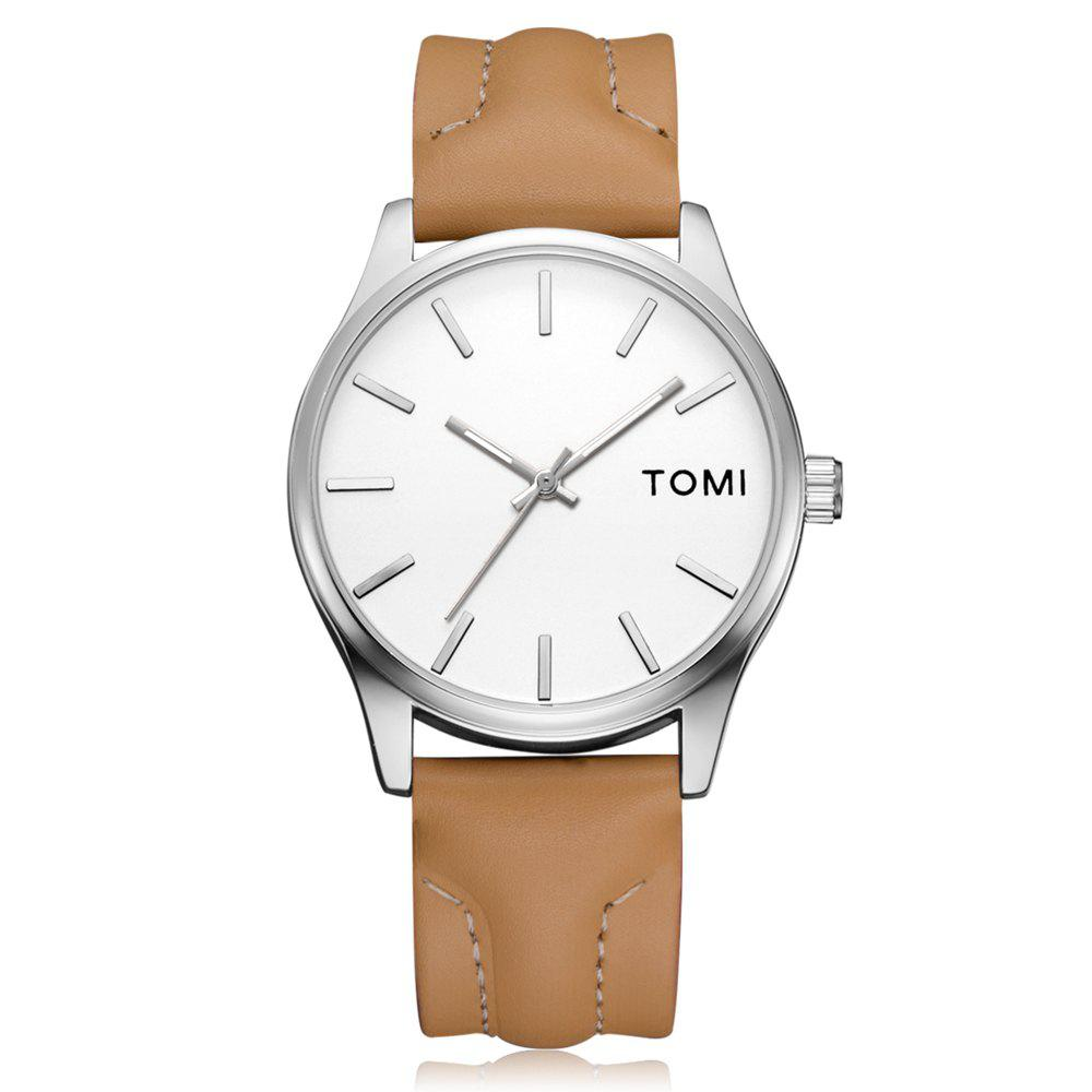 TOMI T018 Unisex Fashion Leather Strap Quatz Watch with Box - SILVER/BROWN