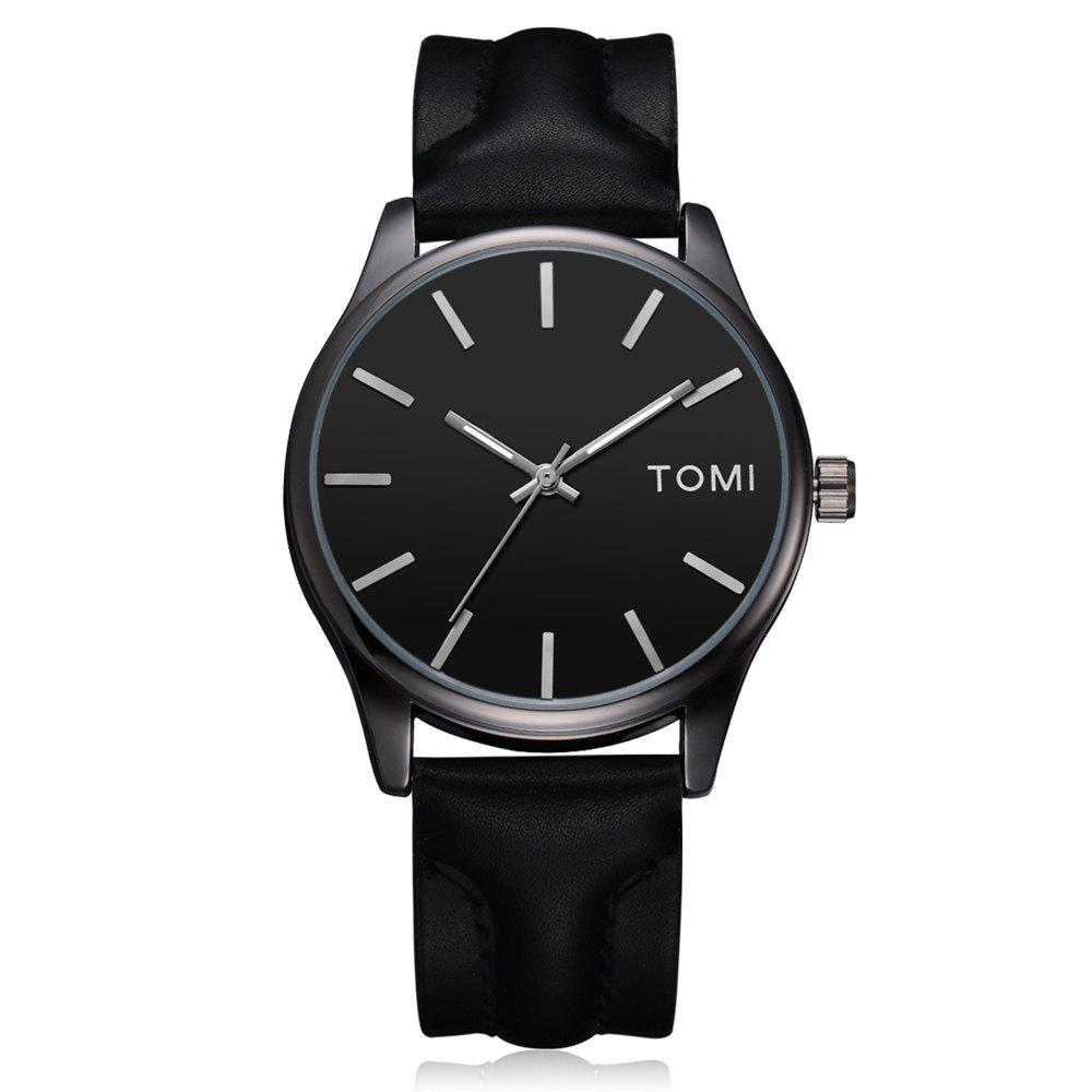 TOMI T018 Unisex Fashion Leather Strap Quatz Watch with Box - BLACK