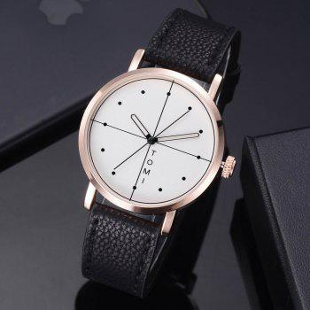 TOMI T019 Unisex Fashion Leather Strap Wrist Watch with Box - BLACK/ROSE GOLD