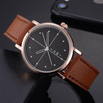 TOMI T019 Unisex Fashion Leather Strap Wrist Watch with Box - ROSE GOLD/BROWN