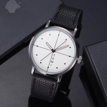 TOMI T019 Unisex Fashion Leather Strap Wrist Watch with Box - BLACK/WHITE