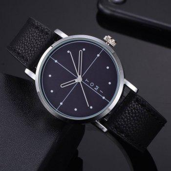 TOMI T019 Unisex Fashion Leather Strap Wrist Watch with Box - SILVER/BLACK