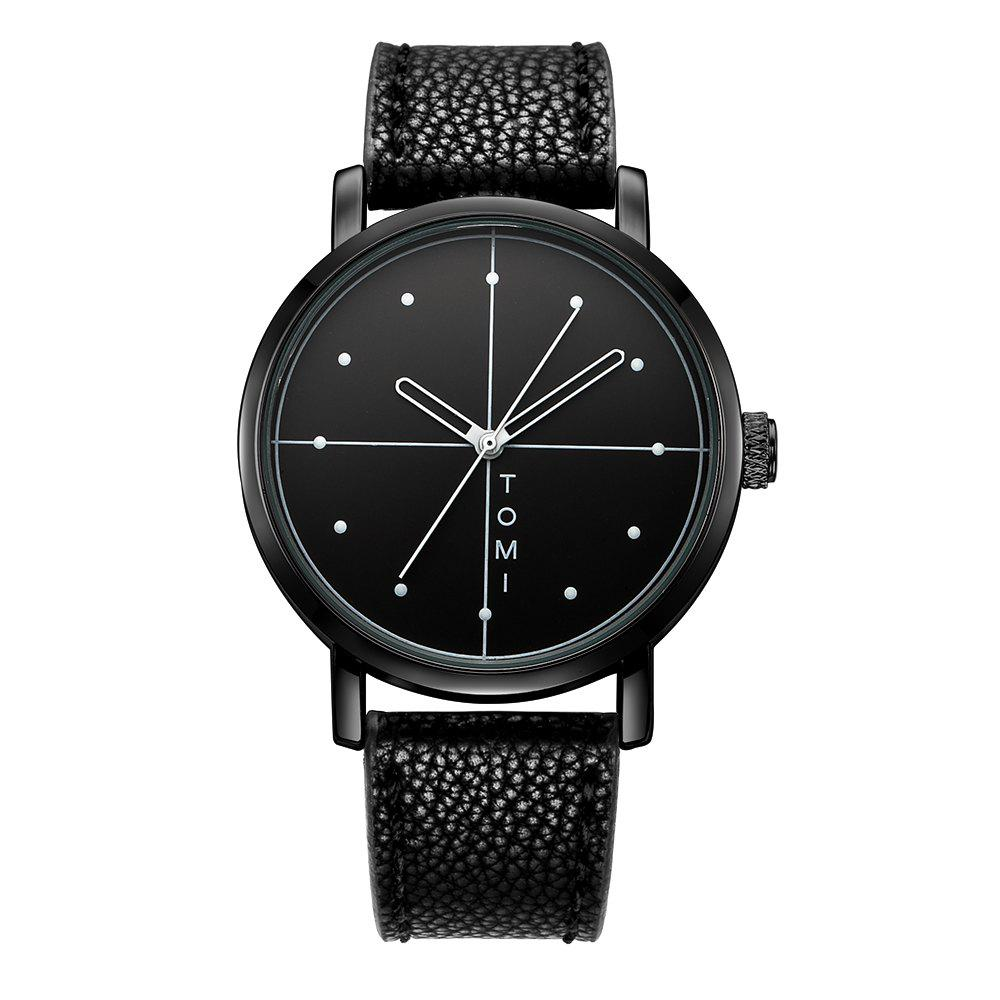 TOMI T019 Unisex Fashion Leather Strap Wrist Watch with Box - BLACK