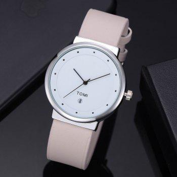 TOMI T020 Unisex Simple Leather Band Quartz Watches with Box - APRICOT