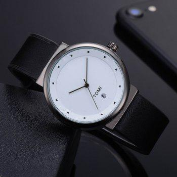 TOMI T020 Unisex Simple Leather Band Quartz Watches with Box - BLACK/WHITE