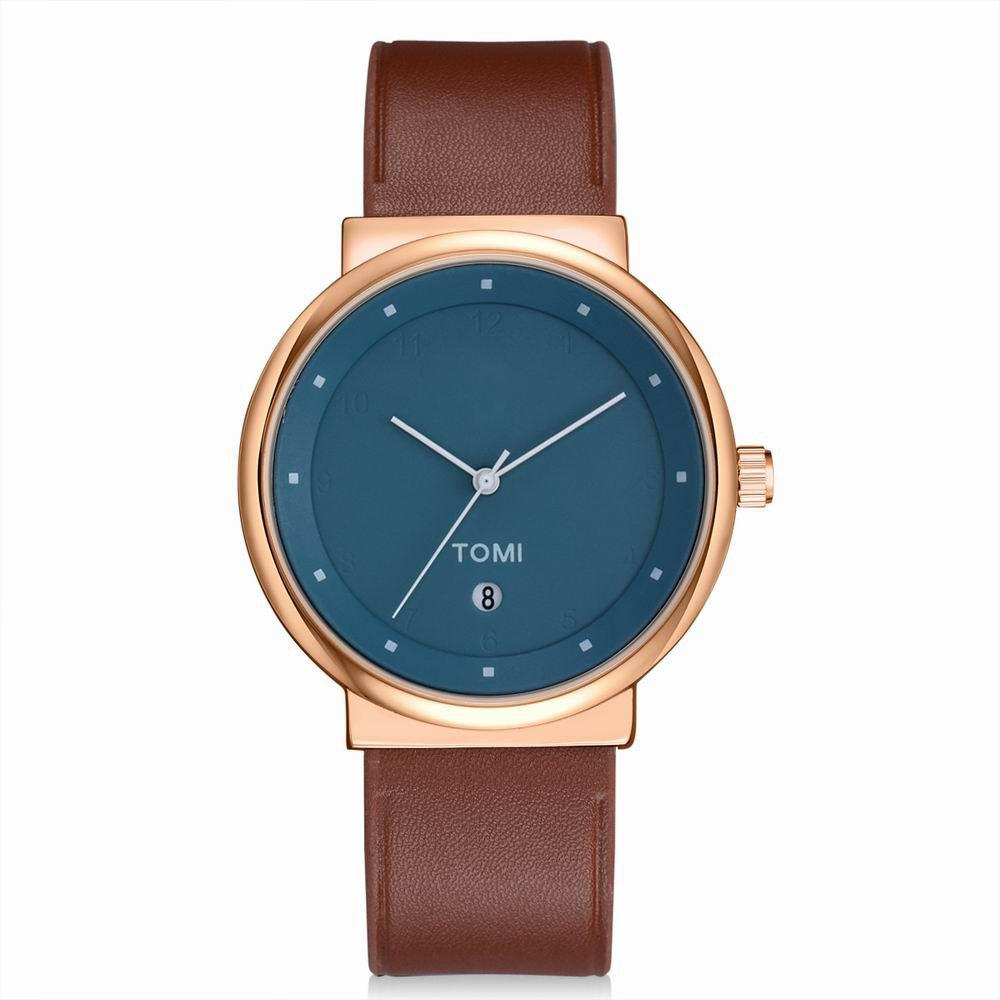 TOMI T020 Unisex Simple Leather Band Quartz Watches with Box - ROSE GOLD/BROWN