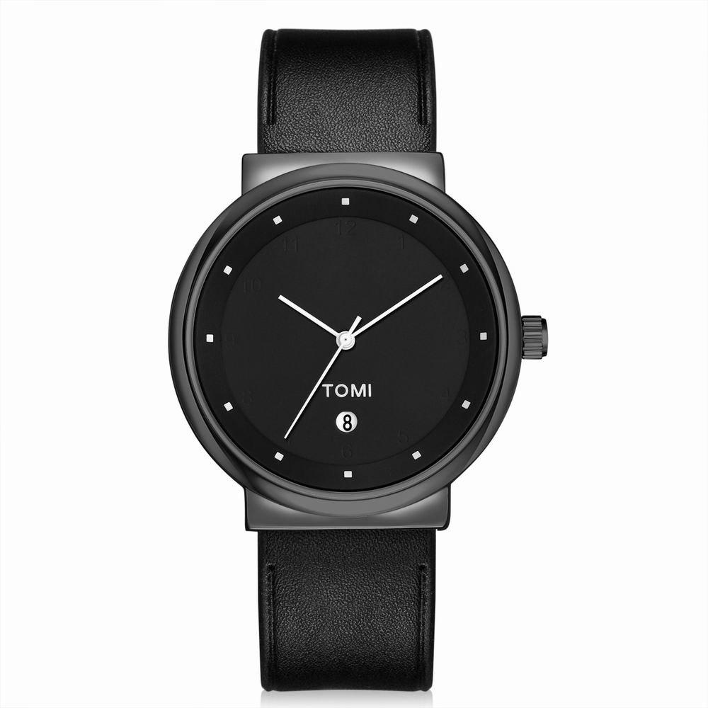 TOMI T020 Unisex Simple Leather Band Quartz Watches with Box - BLACK