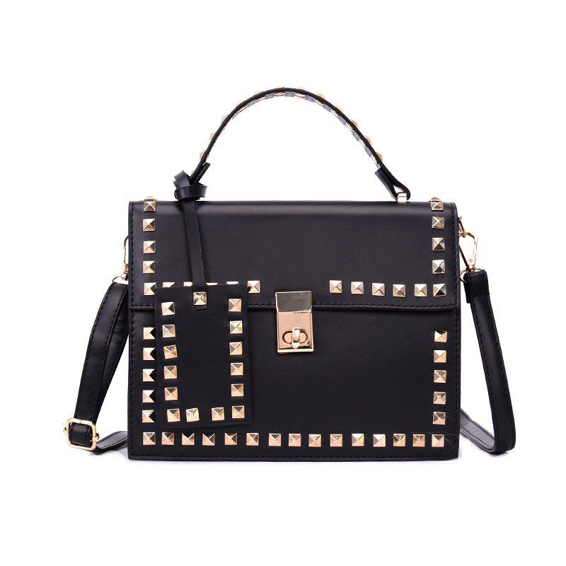 Rivets Wild Fashion Shoulder Messenger Hand Small Square Package - BLACK