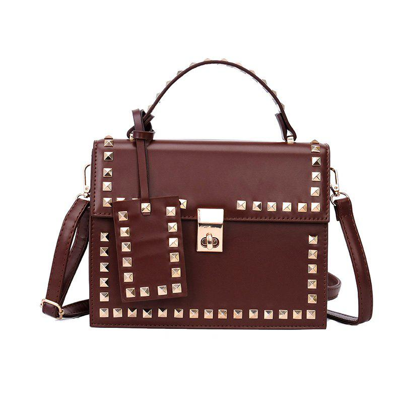 Rivets Wild Fashion Shoulder Messenger Hand Small Square Package - BURGUNDY