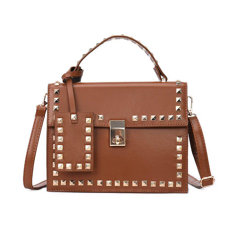 Rivets Wild Fashion Shoulder Messenger Hand Small Square Package - BROWN
