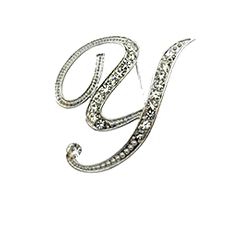 New Design of Crystal Brooch  Fashion Classic Charm Accessories Letters for Woman - YLW