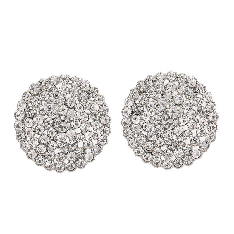 Fashion Round Button CZ Full Rhinestone Earrings For Women Charm Jewelry Party - SILVER