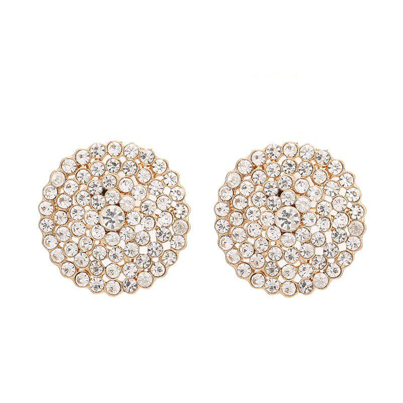 Fashion Round Button CZ Full Rhinestone Earrings For Women Charm Jewelry Party - GOLDEN