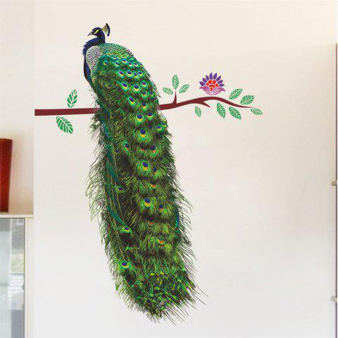 Peacock Tree Branch Art Wall Sticker For Home Decoration Removable Decal - COLORMIX
